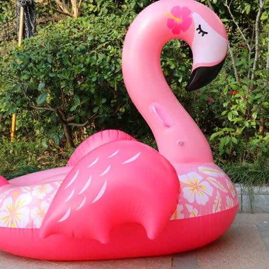 梨卡★現貨 - 沙灘海邊出國睡美人粉色翅膀火烈鳥充氣加厚PVC游泳圈浮圈坐騎浮排浮床M158