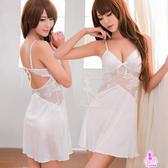 純白柔緞網紗綁帶美背性感睡衣 星光密碼D046