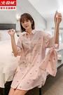 北極絨女睡衣2021新款夏學生甜美寬鬆短袖可外穿冰絲襯衫薄款睡裙 【端午節特惠】