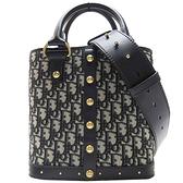 DIOR 迪奧 藍色緹花布復古金釦手提斜背包 DiorAvenue Bag 【二手名牌BRAND OFF】