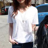 夏季韓版寬鬆白色短袖t恤女竹節棉麻百搭簡約學生半袖上衣潮       伊芙莎