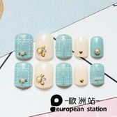 假指甲片/清新藍色虛線點鉆【歐洲站】