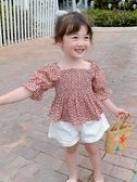 女童T恤 夏裝2020新款韓版洋氣兒童夏季體恤小女孩短袖碎花上衣潮【快速出貨】
