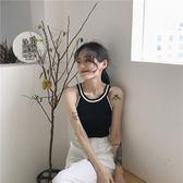夏季韓國chic拼色舒適冰絲修身顯瘦掛脖圓領針織吊帶揹心女打底衫   9號潮人館