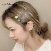 髮夾 清新兩件套發夾女韓國網紅一字發卡頭飾少女劉海夾子簡約邊夾 莎拉嘿呦
