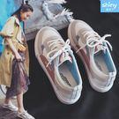 【V8994】shiny藍格子-輕鬆休閒.百搭織布皮拼接休閒鞋
