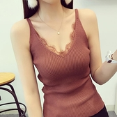 女裝2020新款夏季睫毛蕾絲拼接V領吊帶小背心外穿無袖上衣打底衫 【ifashion·全店免運】