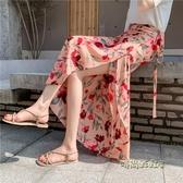 長裙女夏新款雪紡一片式中長款碎花不規則魚尾裹裙港味半身裙chic「時尚彩紅屋」