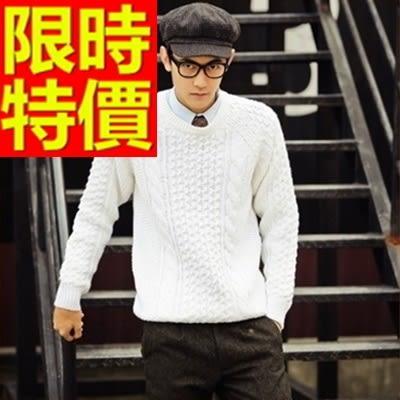 長袖毛衣-美麗諾羊毛韓風禦寒套頭男針織衫4色63t56【巴黎精品】
