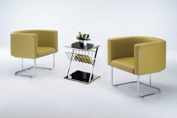 【 IS空間美學】芥末綠皮洽談沙發