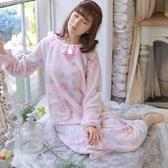 睡衣-珊瑚絨圓領舒適保暖冬季女居家服2色73ok44[時尚巴黎]