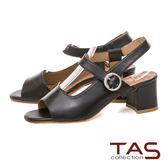TAS 質感素面羊皮側鏤空魚口粗跟涼鞋-百搭黑