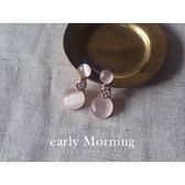 early Morning - 粉嫩日本小苒堂 仿月光石耳環 韓版【ER125】