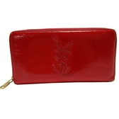 YVES SAINT LAURENT YSL 聖羅蘭 紅色牛皮LOGO縫線拉鍊長夾 177552 【BRAND OFF】