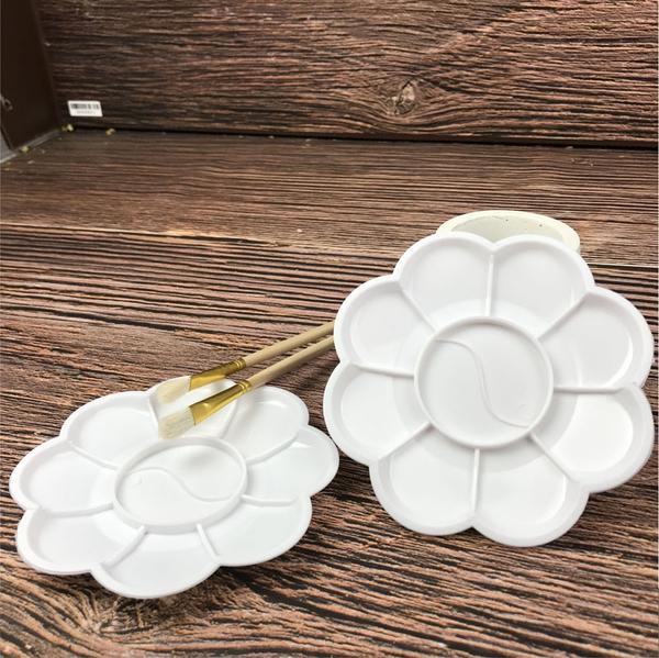 梅花型 調色盤 水彩 8孔、9孔 塑膠調色盤 美甲調色 美術調色 ~ DIY 創作工藝 配件 1入