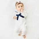 女寶寶長袖兔裝 公主風連身衣 白色海軍風   韓版童裝 (嬰幼兒/兒童/小孩)