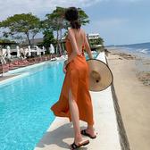 洋裝 連身裙 沙灘裙 波西米亞夏日海邊度假風性感露背吊帶連身裙仙女長裙H460A日韓屋