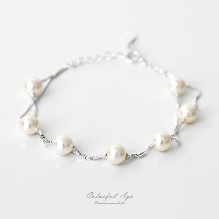 925純銀手鍊 珍珠雙鏈雙層設計 甜美視覺 佩戴舒適【NPA18】增添美感