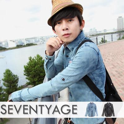 ∥柒零年代∥Awesome【N7613J】韓系首爾街頭率性條紋開襟袖口反折扣刷色牛仔襯衫(SH6019)