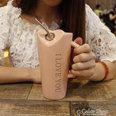 馬克杯創意可愛簡約個性陶瓷喝水馬克杯大容量帶吸管勺男女辦公室家用杯    color shop