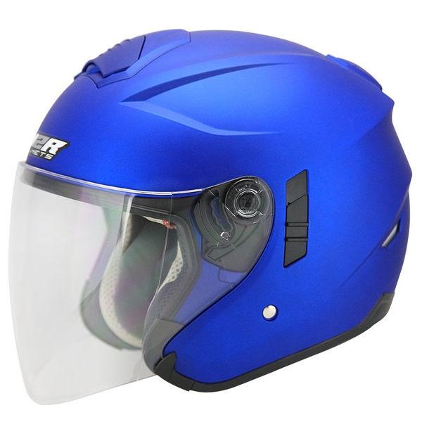 M2R FR-1 FR1 雙層鏡片 遮陽鏡片 內襯全可拆洗 四分之三 半罩式 半罩 安全帽 素色 消光藍 平藍