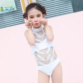 2019新款兒童泳衣性感可愛連體三角女童寶寶小中大童表演走秀泳裝
