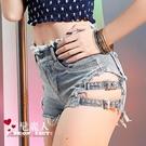 高腰側邊綁帶流蘇緊身超短牛仔褲女夏季性感...