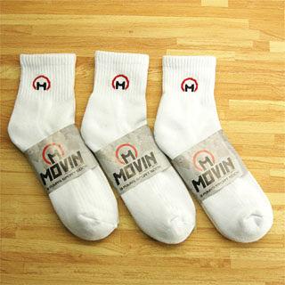 MOVIN 運動彈力厚底休閒短襪-3雙組--白色-單色--502W