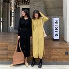 【GZ F1】針織洋裝 純色中長款 V領...