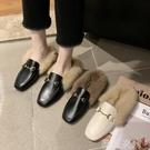 豆豆鞋 毛毛鞋 毛毛鞋拖鞋女冬外穿2020秋季新款平底包頭半拖鞋無后跟懶人穆勒鞋 薇薇