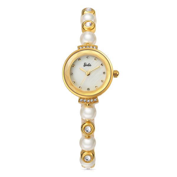 芭比公主系列 時尚簡約閃鑽仿珍珠手鏈石英女錶B50551L