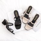 粗跟鞋.MIT韓系簡約一字系帶高跟涼鞋.白鳥麗子