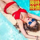 兩件式女泳裝-聚攏交叉綁帶純色比基尼泳衣67h5【時尚巴黎】
