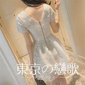 蕾絲鉤花大碼高腰小禮服洋裝