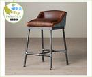 {{ 海中天休閒傢俱廣場 }}C99  復古 68-025 LOFT 工業風 鑄黑鐵實木 仿舊 吧台椅 靠背旋轉吧椅 咖啡廳