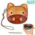 【喜番屋】真皮頭層牛皮小豬造型女士零錢包女夾【LH682】