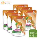 箱購免運   橘子工坊 天然濃縮洗衣精 制菌力99.99%補充包1500+200ml x6包/箱