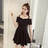 一字领洋装 夏季一字肩洋裝小黑裙氣質收腰顯瘦仙女吊帶露肩法式復古洋裝