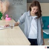 《AB7570-》自然文青假兩件細直條襯衫 OB嚴選
