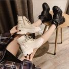 短靴 百搭馬丁靴女英倫秋款新款厚底增高小個子網紅高跟短靴ins潮