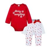 聖誕雪花長袖包屁衣+紗裙內搭褲 套裝 薄長袖 包屁衣 寶寶 聖誕服裝 聖誕節 嬰兒 童裝 橘魔法