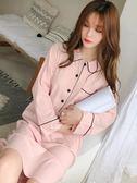睡裙女秋冬季長款學生長袖翻領寬鬆大碼甜美純棉韓版睡衣家居服  提拉米蘇