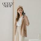 Queen Shop【02030357】質感棉麻五分袖西裝外套 兩色售*現+預*