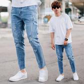 牛仔褲 褲腳抽鬚不修邊小刷破合身彈性牛仔褲【NB0845J】