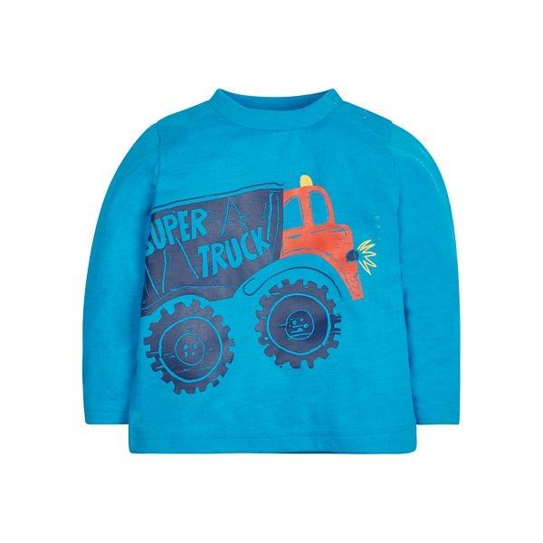 mothercare 秋冬男嬰超級卡車長袖上衣-VT-藍色(M0JD972)09M~18M