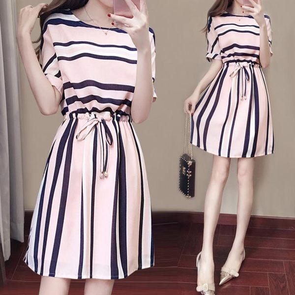 洋裝夏季新款小清新氣質兩件套裝裙子碎花雪紡連身裙 ic2128【Pink中大尺碼】