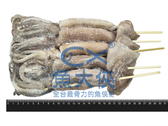 1G4B【魚大俠】SD045串燒阿根廷小魷魚(130~150g/尾/5尾/包)已殺菁串籤/魷魚批發