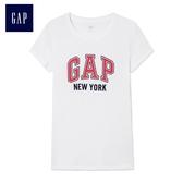 Gap女裝 LOGO城市主題簡潔風格短袖T恤 260202- 羽白色