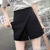 褲裙 高腰短褲女夏季2021新款韓版休閒百搭學生寬鬆顯瘦雪紡闊腿褲裙 新品