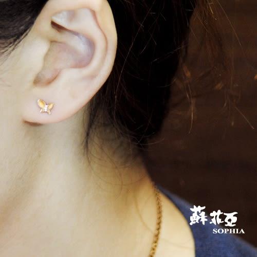 蘇菲亞SOPHIA - 蝶戀玫瑰金鑽石耳環